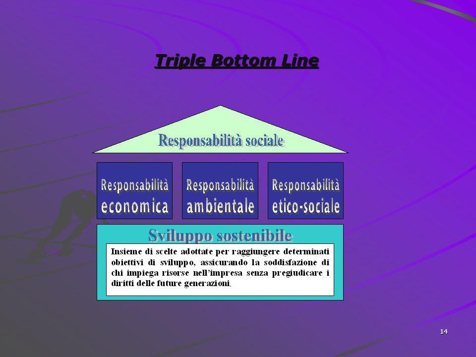 13 SOSTENIBILITA' CITTADINANZA D'IMPRESA TRIPLE BOTTOM LINE E' lo sviluppo che soddisfa i bisogni del mondo presente senza compromettere la capacità d