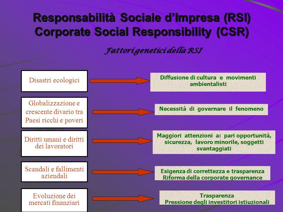 12 Le dimensioni della responsabilità sociale d'impresa (RSI) SVILUPPO SOSTENIBILE (sustainable development) CITTADINANZA D'IMPRESA (corporate citizenship) MULTIDIMENSIONALITA' (triple bottom line) Tre Concetti di sintesi: