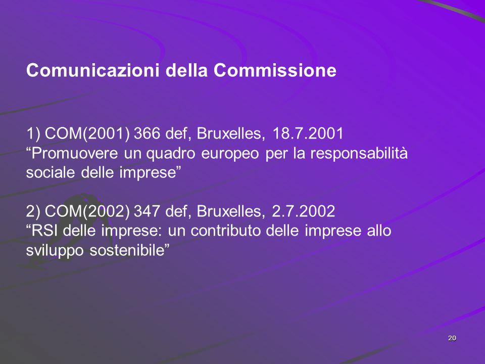 """19 L'orientamento """"comunitario"""" alla CSR """"Integrazione volontaria delle preoccupazioni sociali ed ecologiche delle imprese nelle loro operazioni comme"""