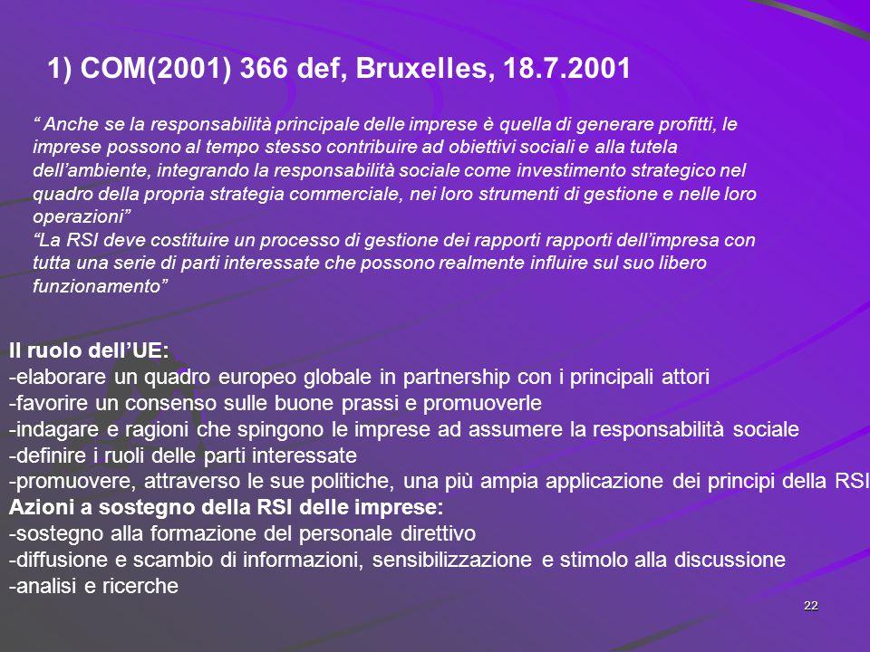 21 Organizzazioni internazionali di riferimento Global Compact (Triple Bottom Line)delle Nazioni Unite (2000) (Principi promossi dal Segretario genera