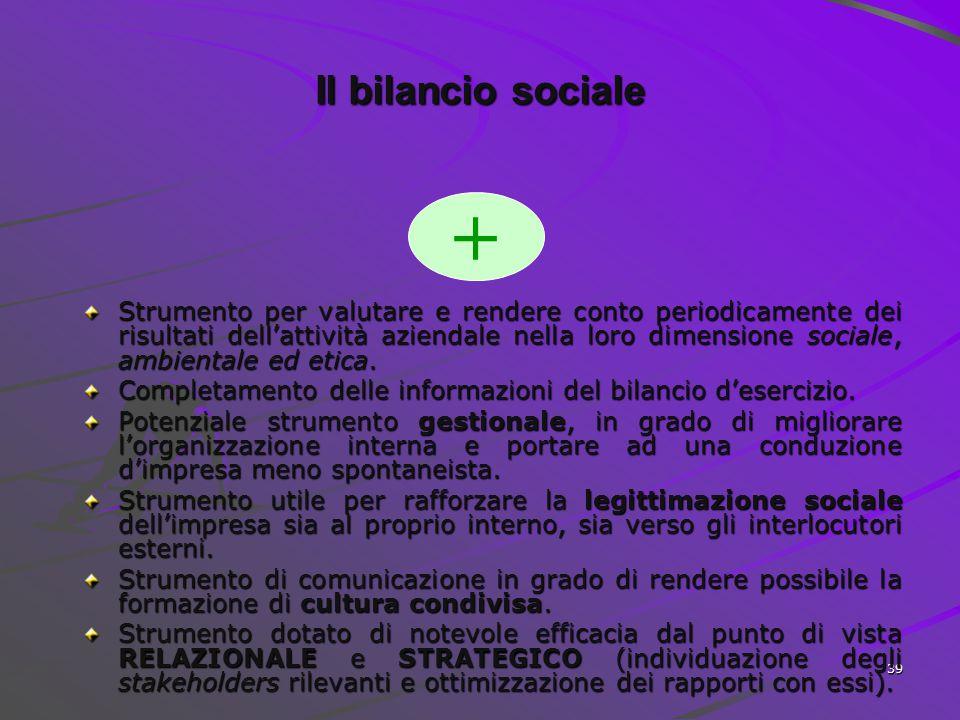 38 Gli strumenti di comunicazione della RSI I principali limiti I principali limiti Certificazioni sociali Codice etico Bilancio sociale Assente Onero