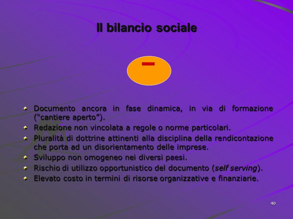 39 + Il bilancio sociale Strumento per valutare e rendere conto periodicamente dei risultati dell'attività aziendale nella loro dimensione sociale, am