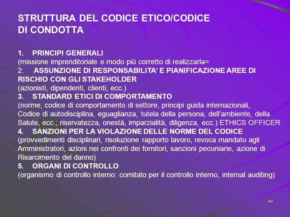 42 A monte del Codice Etico  analisi struttura aziendale;  individuazione mission;  individuazione gruppi di stakeholder di riferimento;  individu