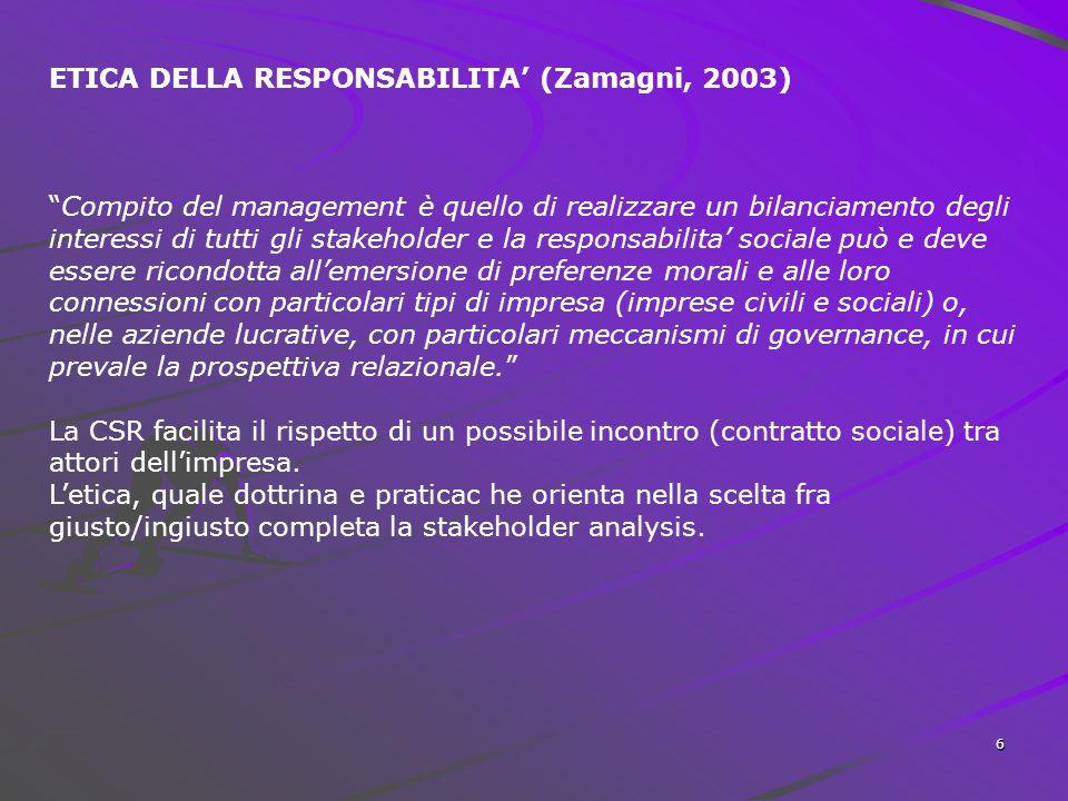 6 ETICA DELLA RESPONSABILITA' (Zamagni, 2003) Compito del management è quello di realizzare un bilanciamento degli interessi di tutti gli stakeholder e la responsabilita' sociale può e deve essere ricondotta all'emersione di preferenze morali e alle loro connessioni con particolari tipi di impresa (imprese civili e sociali) o, nelle aziende lucrative, con particolari meccanismi di governance, in cui prevale la prospettiva relazionale. La CSR facilita il rispetto di un possibile incontro (contratto sociale) tra attori dell'impresa.