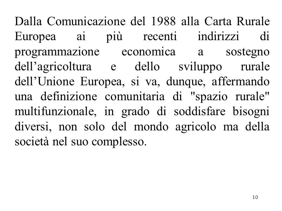 10 Dalla Comunicazione del 1988 alla Carta Rurale Europea ai più recenti indirizzi di programmazione economica a sostegno dell'agricoltura e dello svi