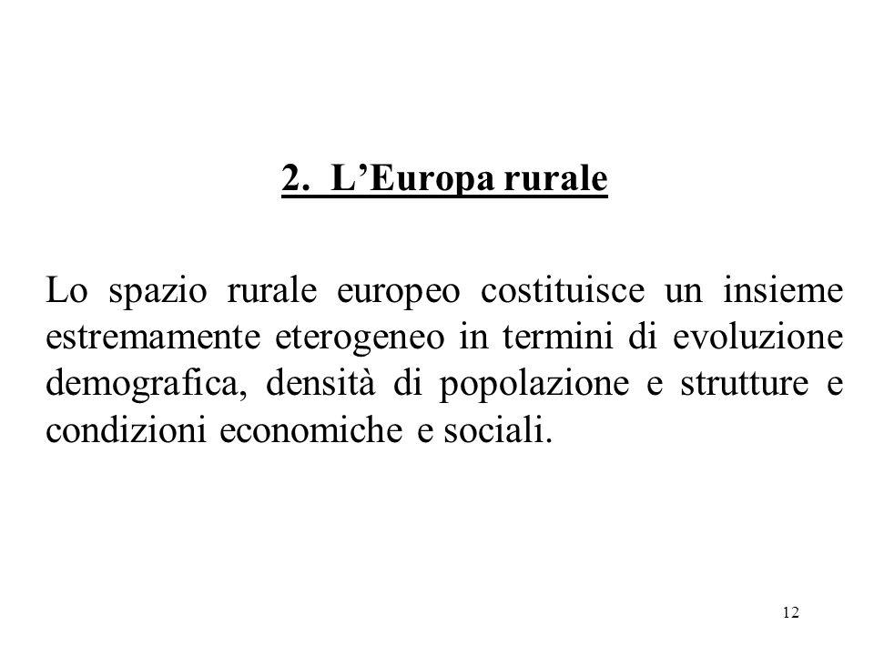 12 2. L'Europa rurale Lo spazio rurale europeo costituisce un insieme estremamente eterogeneo in termini di evoluzione demografica, densità di popolaz