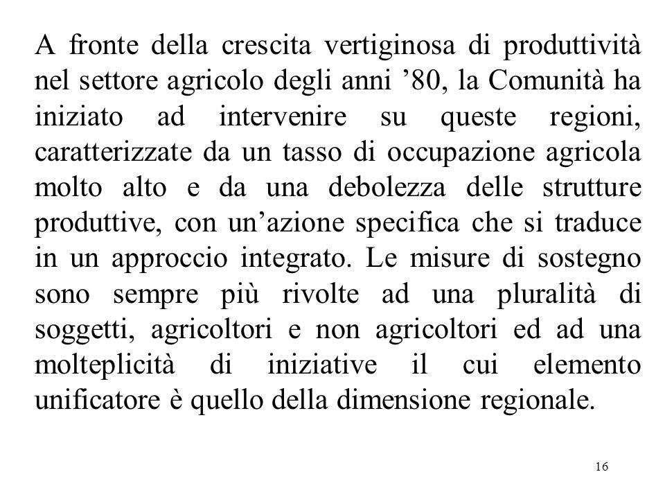 16 A fronte della crescita vertiginosa di produttività nel settore agricolo degli anni '80, la Comunità ha iniziato ad intervenire su queste regioni,