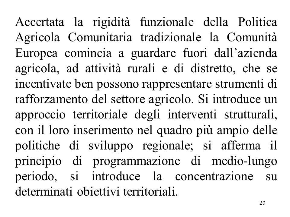 20 Accertata la rigidità funzionale della Politica Agricola Comunitaria tradizionale la Comunità Europea comincia a guardare fuori dall'azienda agrico