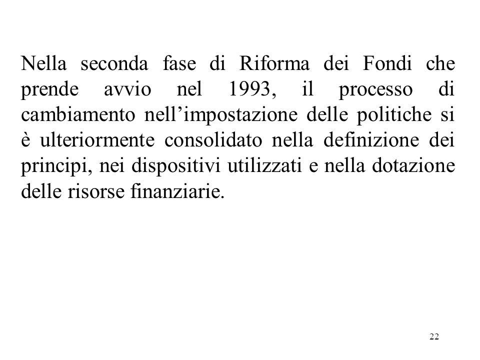 22 Nella seconda fase di Riforma dei Fondi che prende avvio nel 1993, il processo di cambiamento nell'impostazione delle politiche si è ulteriormente