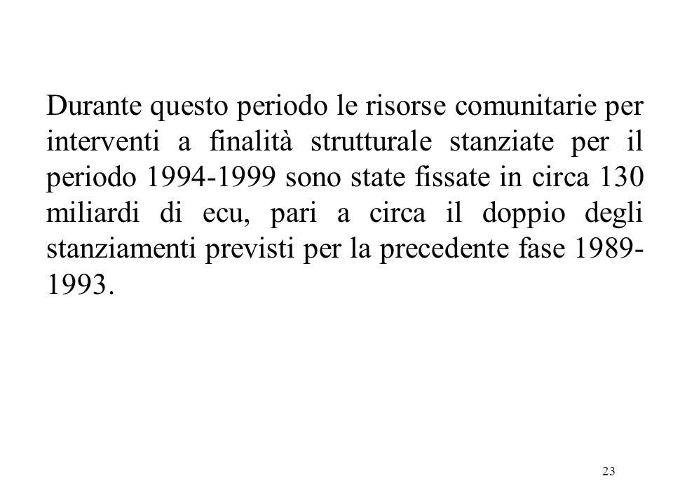 23 Durante questo periodo le risorse comunitarie per interventi a finalità strutturale stanziate per il periodo 1994-1999 sono state fissate in circa