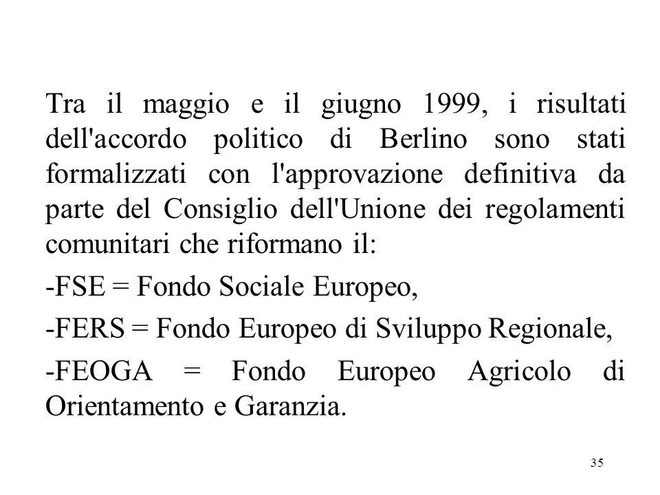 35 Tra il maggio e il giugno 1999, i risultati dell'accordo politico di Berlino sono stati formalizzati con l'approvazione definitiva da parte del Con