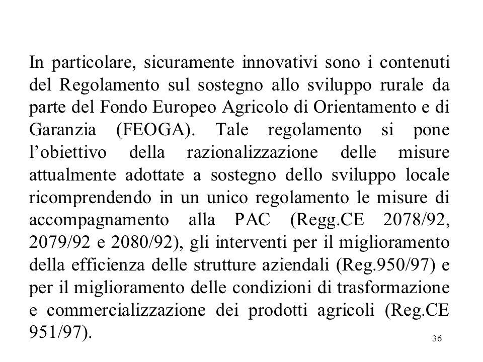 36 In particolare, sicuramente innovativi sono i contenuti del Regolamento sul sostegno allo sviluppo rurale da parte del Fondo Europeo Agricolo di Or