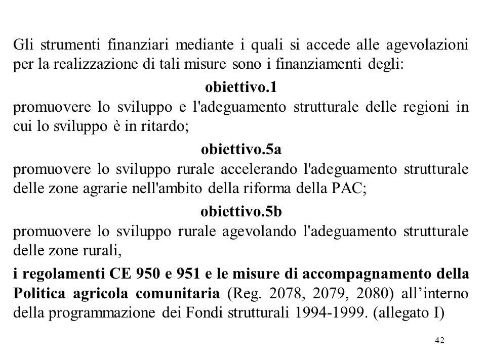 42 Gli strumenti finanziari mediante i quali si accede alle agevolazioni per la realizzazione di tali misure sono i finanziamenti degli: obiettivo.1 p