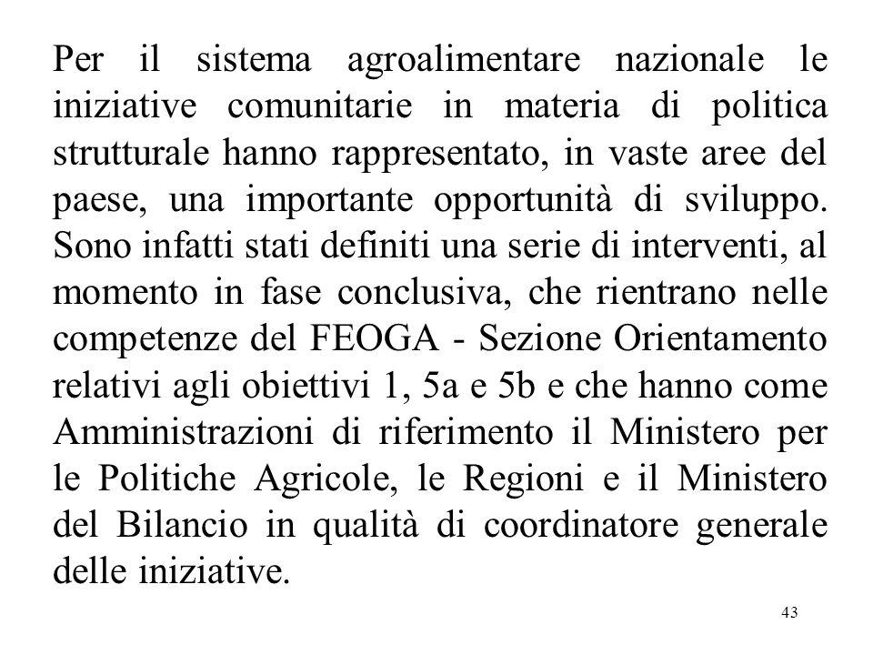 43 Per il sistema agroalimentare nazionale le iniziative comunitarie in materia di politica strutturale hanno rappresentato, in vaste aree del paese,