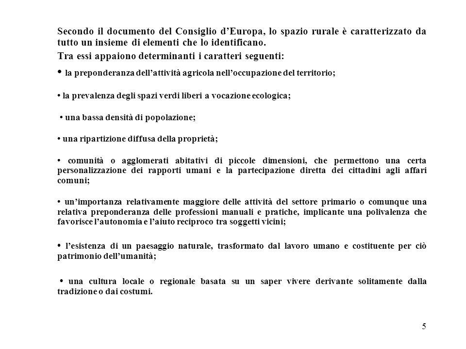 5 Secondo il documento del Consiglio d'Europa, lo spazio rurale è caratterizzato da tutto un insieme di elementi che lo identificano. Tra essi appaion