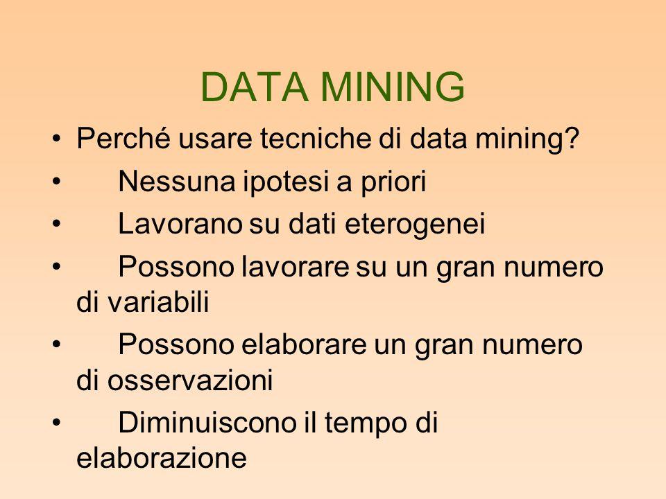 DATA MINING Perché usare tecniche di data mining? Nessuna ipotesi a priori Lavorano su dati eterogenei Possono lavorare su un gran numero di variabili