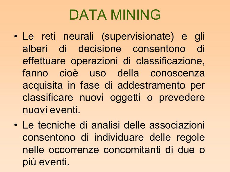 DATA MINING Le reti neurali (supervisionate) e gli alberi di decisione consentono di effettuare operazioni di classificazione, fanno cioè uso della co