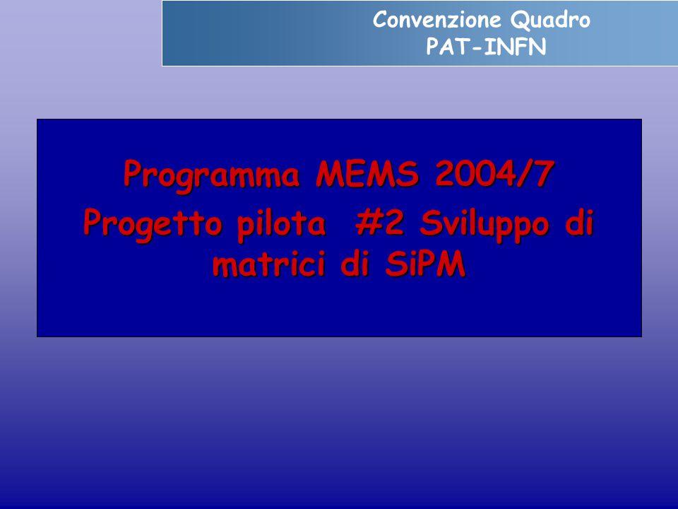 Programma MEMS 2004/7 Progetto pilota #2 Sviluppo di matrici di SiPM Convenzione Quadro PAT-INFN