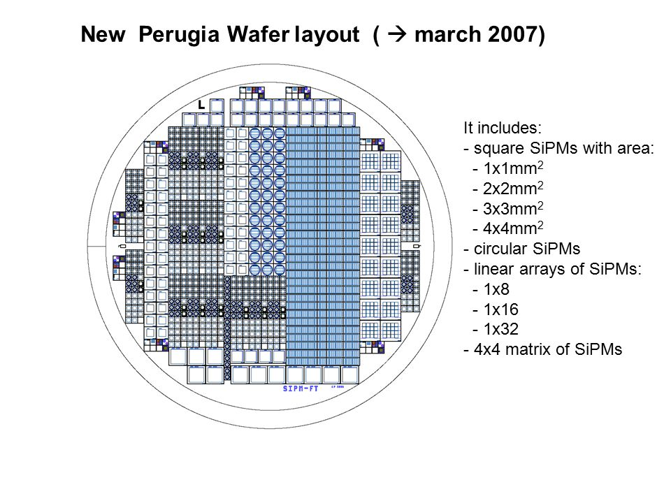 New Perugia Wafer layout (  march 2007) It includes: - square SiPMs with area: - 1x1mm 2 - 2x2mm 2 - 3x3mm 2 - 4x4mm 2 - circular SiPMs - linear arra
