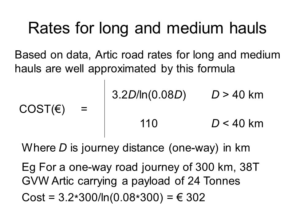 Rates for long and medium hauls Based on data, Artic road rates for long and medium hauls are well approximated by this formula COST(€) = 3.2D/ln(0.08