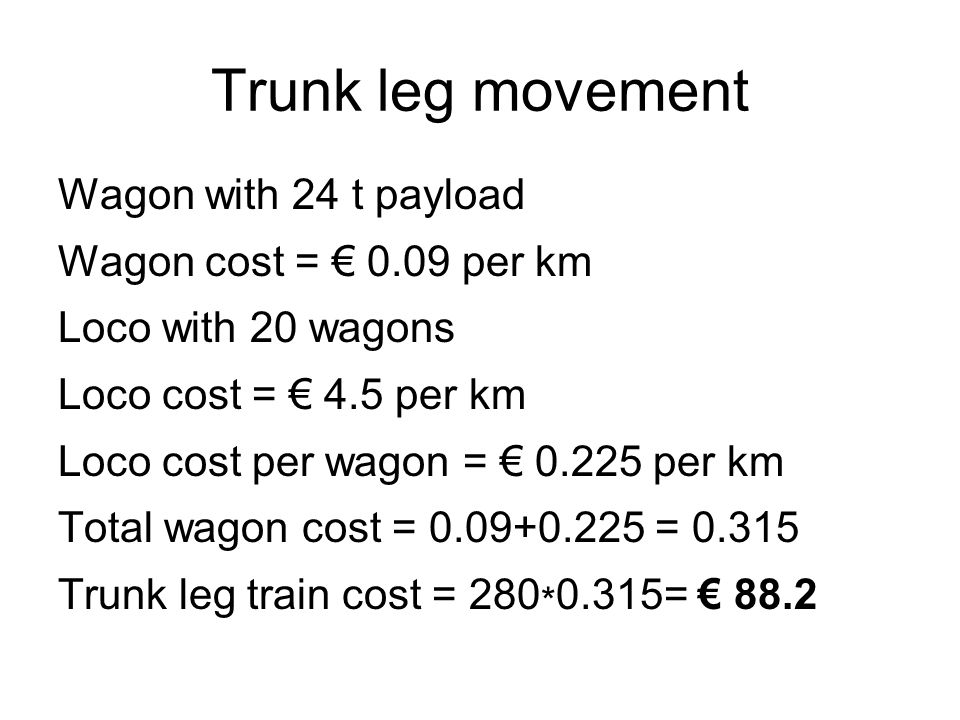 Trunk leg movement Wagon with 24 t payload Wagon cost = € 0.09 per km Loco with 20 wagons Loco cost = € 4.5 per km Loco cost per wagon = € 0.225 per km Total wagon cost = 0.09+0.225 = 0.315 Trunk leg train cost = 280 * 0.315= € 88.2