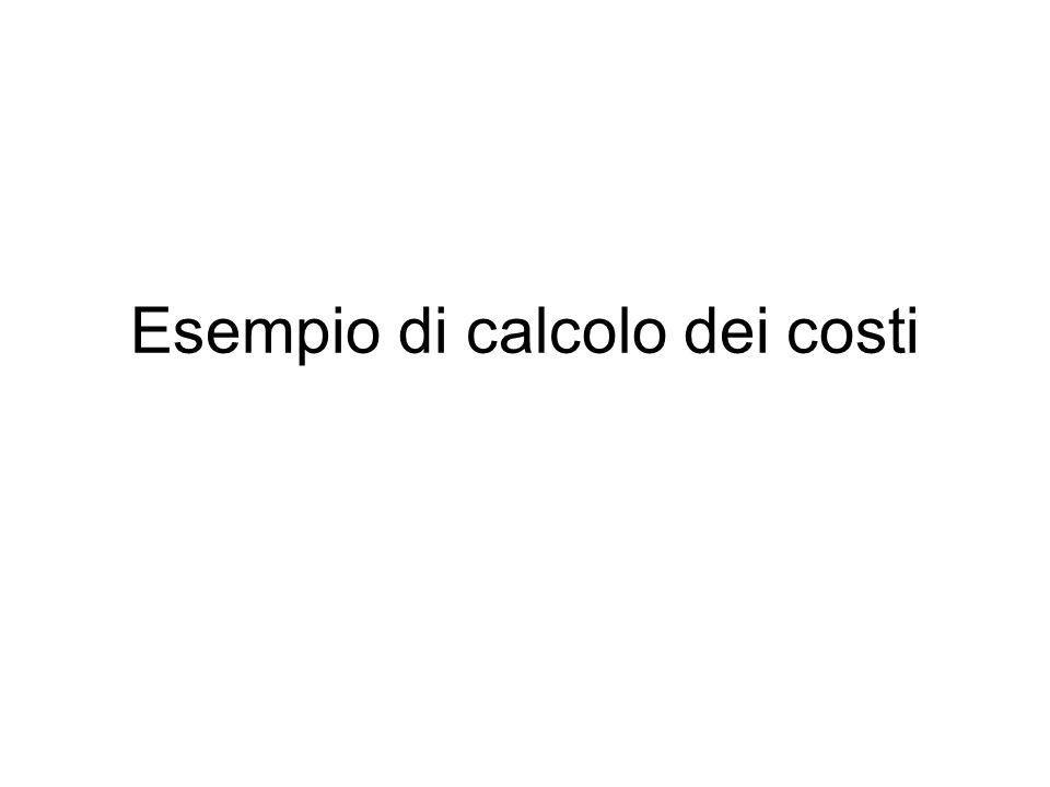 Esempio di calcolo dei costi