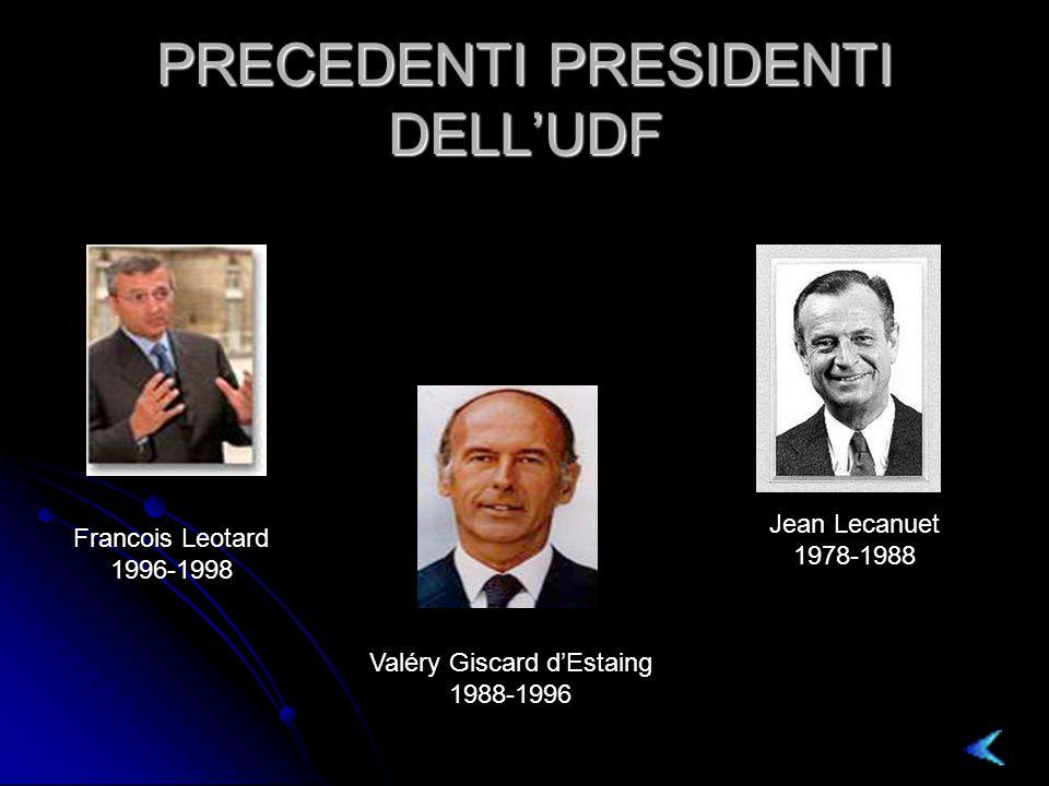 PRECEDENTI PRESIDENTI DELL'UDF Francois Leotard 1996-1998 Valéry Giscard d'Estaing 1988-1996 Jean Lecanuet 1978-1988