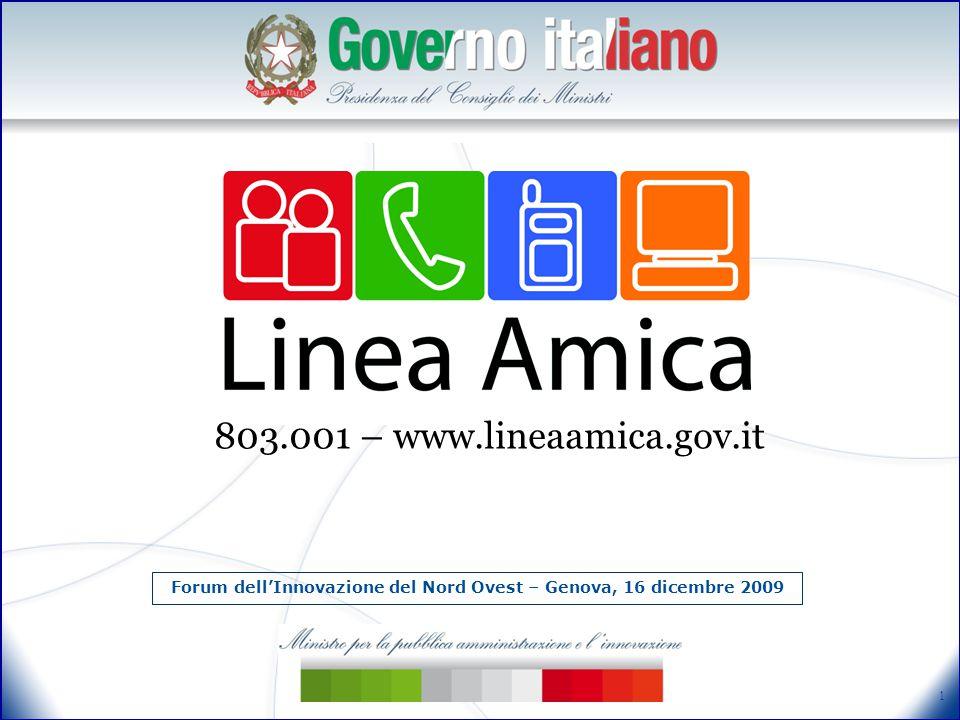 1 Forum dell'Innovazione del Nord Ovest – Genova, 16 dicembre 2009 803.001 – www.lineaamica.gov.it