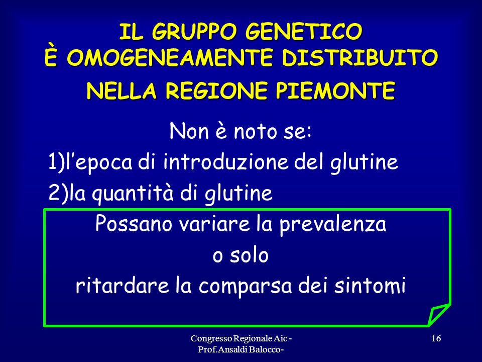 Congresso Regionale Aic - Prof.Ansaldi Balocco- 16 IL GRUPPO GENETICO È OMOGENEAMENTE DISTRIBUITO NELLA REGIONE PIEMONTE Non è noto se: 1)l'epoca di introduzione del glutine 2)la quantità di glutine Possano variare la prevalenza o solo ritardare la comparsa dei sintomi