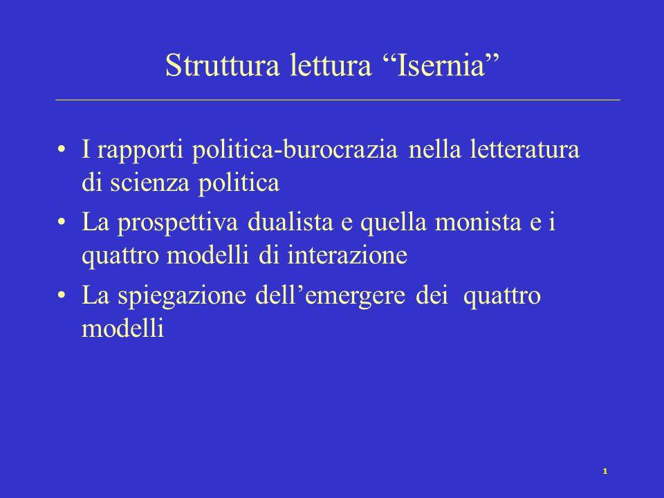 1 Struttura lettura Isernia I rapporti politica-burocrazia nella letteratura di scienza politica La prospettiva dualista e quella monista e i quattro modelli di interazione La spiegazione dell'emergere dei quattro modelli