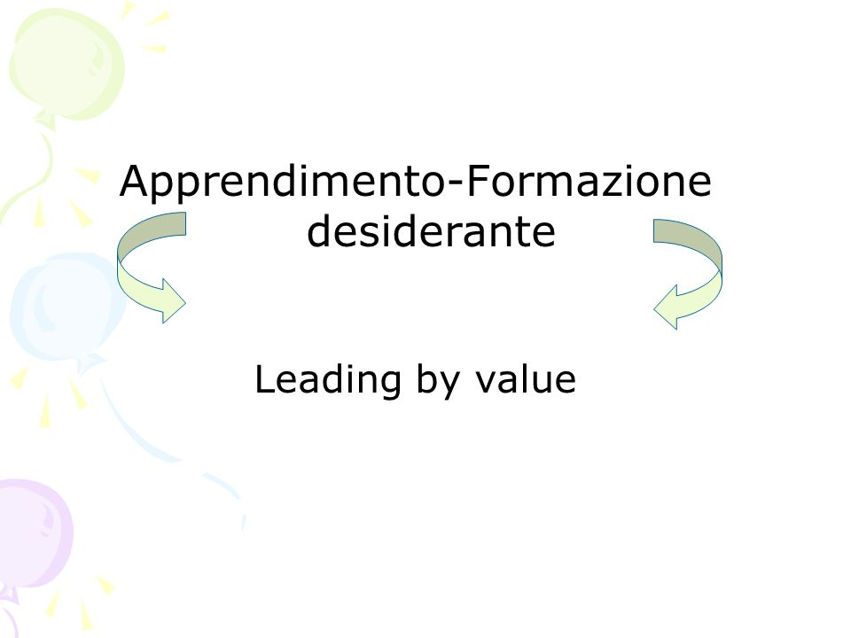 Apprendimento-Formazione desiderante Leading by value