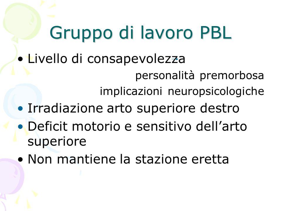 Gruppo di lavoro PBL Livello di consapevolezza personalità premorbosa implicazioni neuropsicologiche Irradiazione arto superiore destro Deficit motori