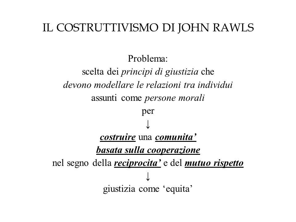 IL COSTRUTTIVISMO DI JOHN RAWLS Problema: scelta dei principi di giustizia che devono modellare le relazioni tra individui assunti come persone morali