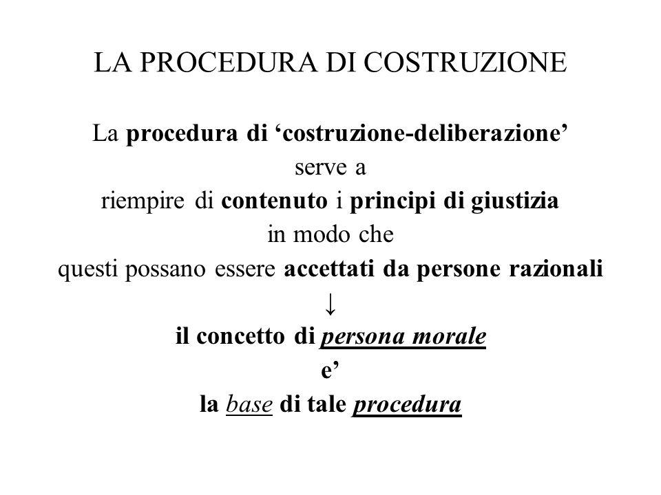 LA PROCEDURA DI COSTRUZIONE La procedura di 'costruzione-deliberazione' serve a riempire di contenuto i principi di giustizia in modo che questi possa