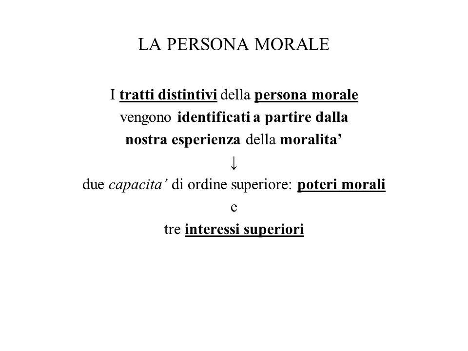 LA PERSONA MORALE I tratti distintivi della persona morale vengono identificati a partire dalla nostra esperienza della moralita' ↓ due capacita' di o
