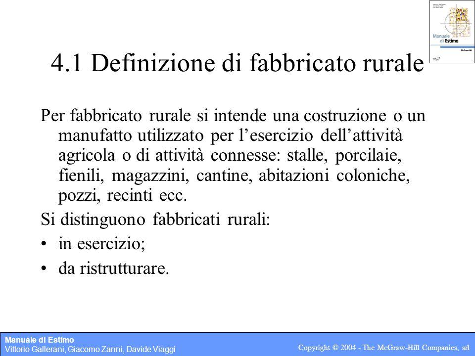 Manuale di Estimo Vittorio Gallerani, Giacomo Zanni, Davide Viaggi Copyright © 2004 - The McGraw-Hill Companies, srl 4.1 Definizione di fabbricato rur
