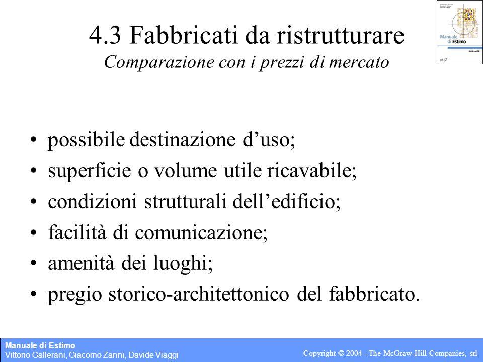 Manuale di Estimo Vittorio Gallerani, Giacomo Zanni, Davide Viaggi Copyright © 2004 - The McGraw-Hill Companies, srl 4.3 Fabbricati da ristrutturare C