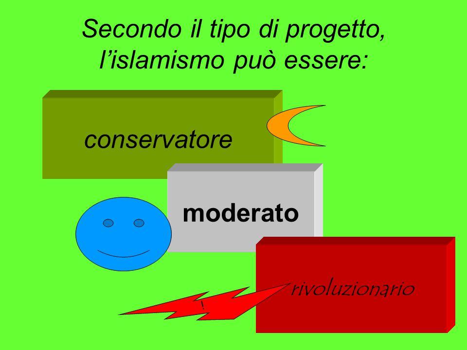 Secondo il tipo di progetto, l'islamismo può essere: conservatore moderato rivoluzionario i
