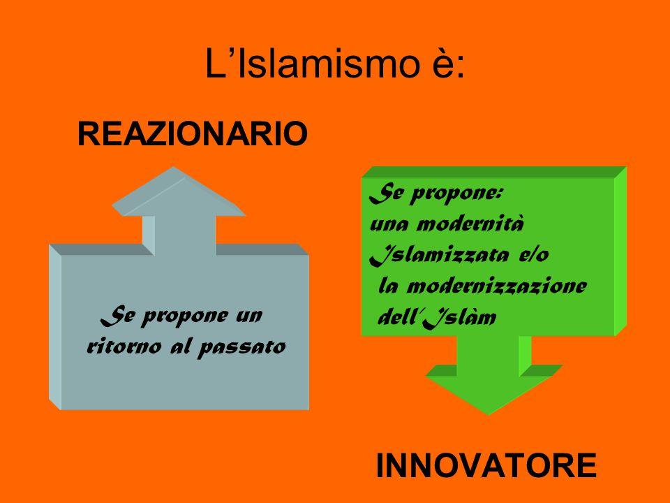 L'Islamismo è: REAZIONARIO INNOVATORE Se propone un ritorno al passato Se propone: una modernità Islamizzata e/o la modernizzazione dell'Islàm