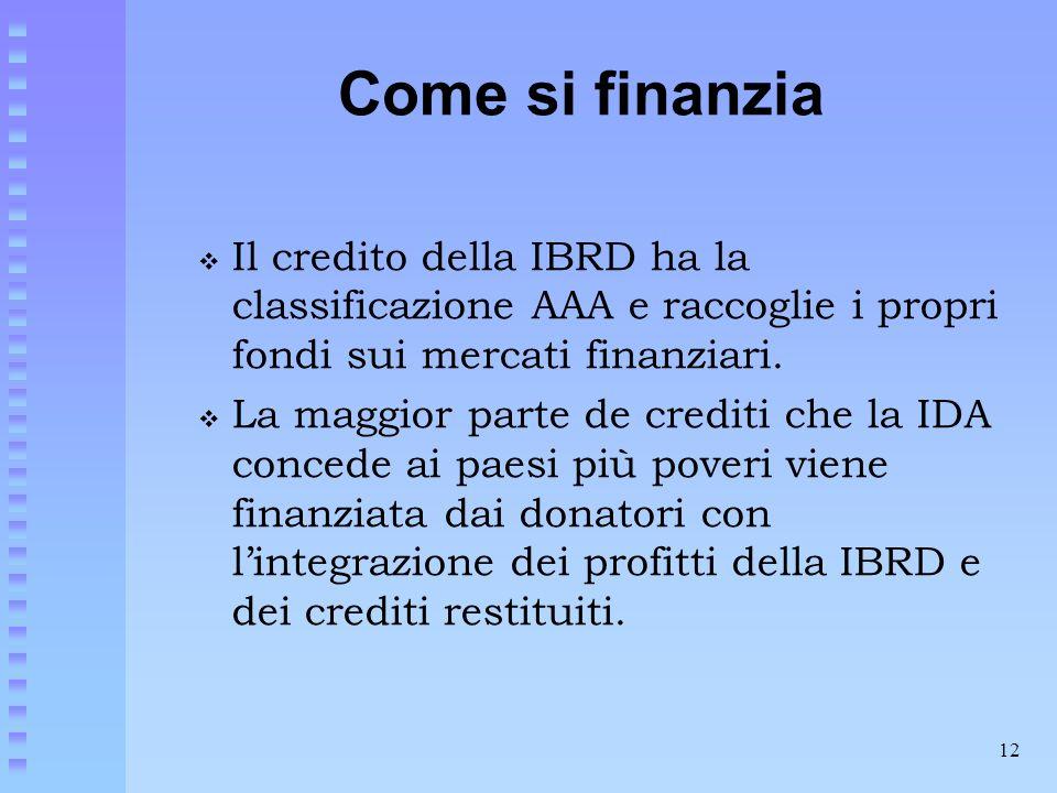 12 Come si finanzia  Il credito della IBRD ha la classificazione AAA e raccoglie i propri fondi sui mercati finanziari.  La maggior parte de crediti