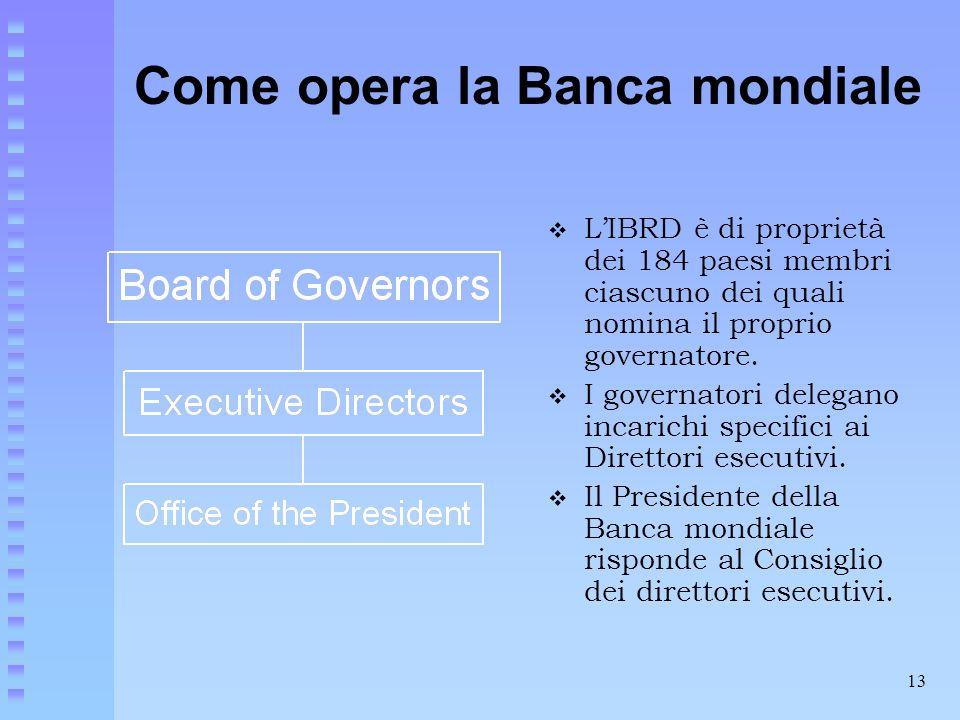 13 Come opera la Banca mondiale  L'IBRD è di proprietà dei 184 paesi membri ciascuno dei quali nomina il proprio governatore.  I governatori delegan