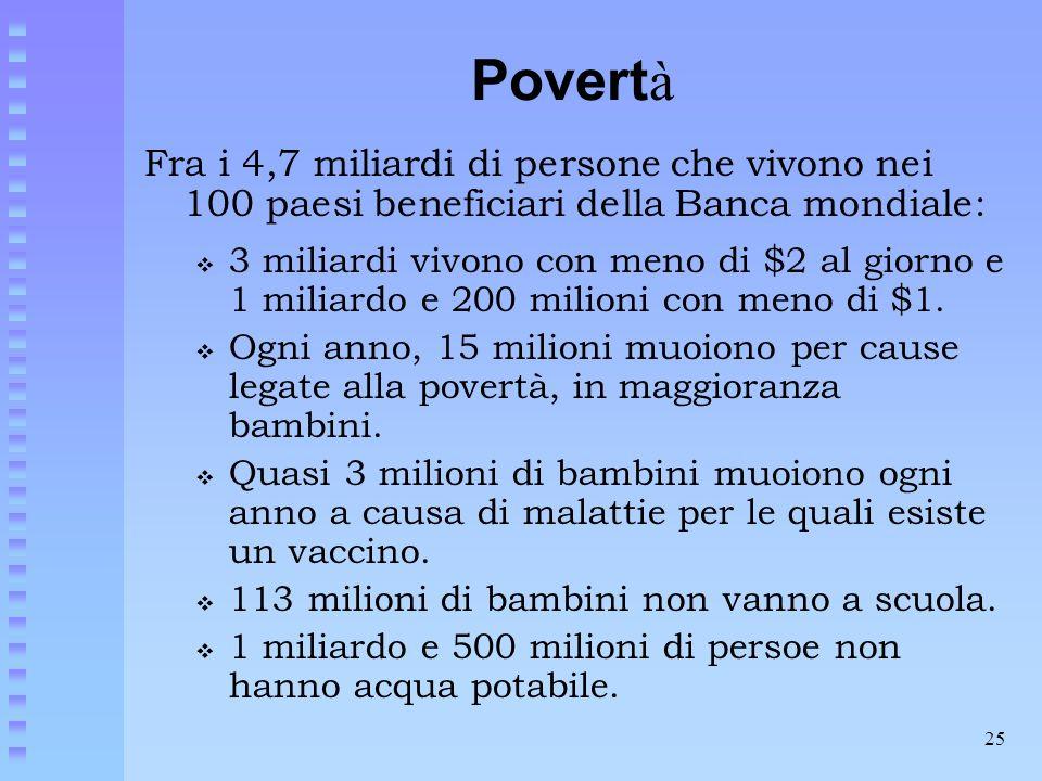 25 Povert à Fra i 4,7 miliardi di persone che vivono nei 100 paesi beneficiari della Banca mondiale:  3 miliardi vivono con meno di $2 al giorno e 1