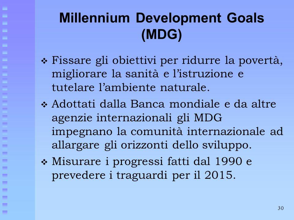 30 Millennium Development Goals (MDG)  Fissare gli obiettivi per ridurre la povertà, migliorare la sanità e l'istruzione e tutelare l'ambiente natura
