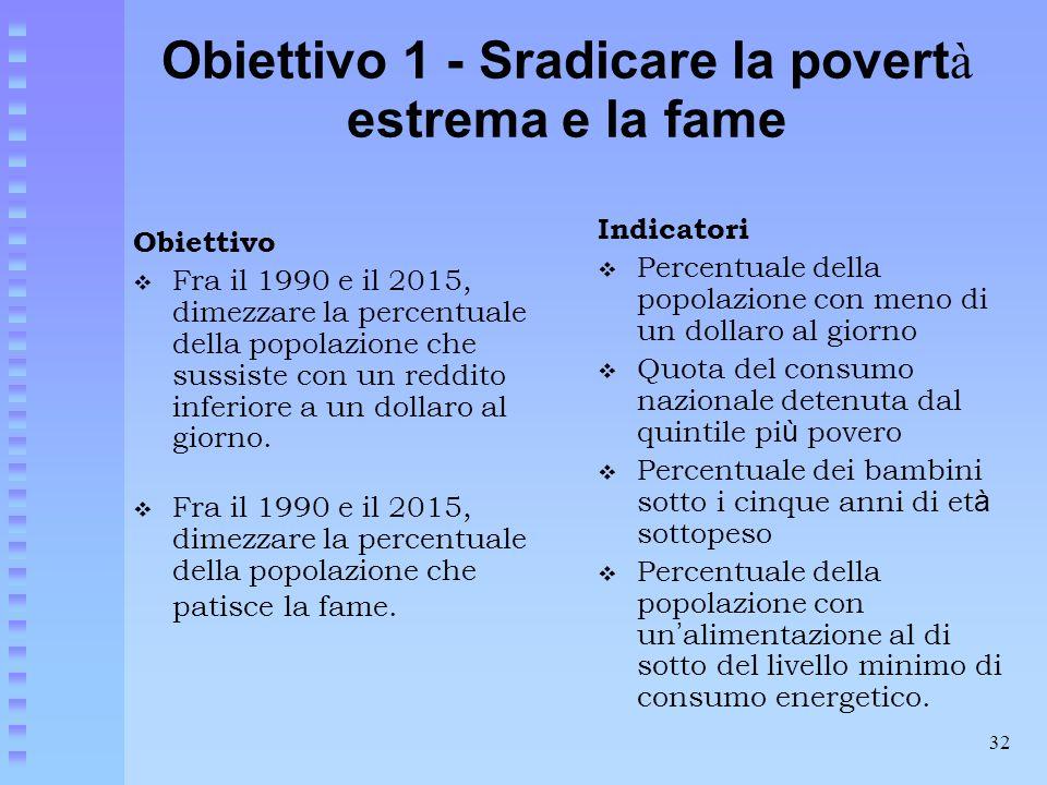 32 Obiettivo 1 - Sradicare la povert à estrema e la fame Obiettivo  Fra il 1990 e il 2015, dimezzare la percentuale della popolazione che sussiste co
