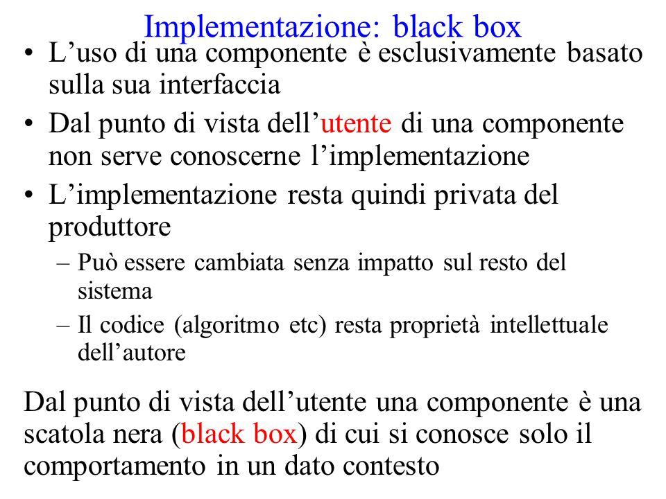 Implementazione: black box L'uso di una componente è esclusivamente basato sulla sua interfaccia Dal punto di vista dell'utente di una componente non serve conoscerne l'implementazione L'implementazione resta quindi privata del produttore –Può essere cambiata senza impatto sul resto del sistema –Il codice (algoritmo etc) resta proprietà intellettuale dell'autore Dal punto di vista dell'utente una componente è una scatola nera (black box) di cui si conosce solo il comportamento in un dato contesto