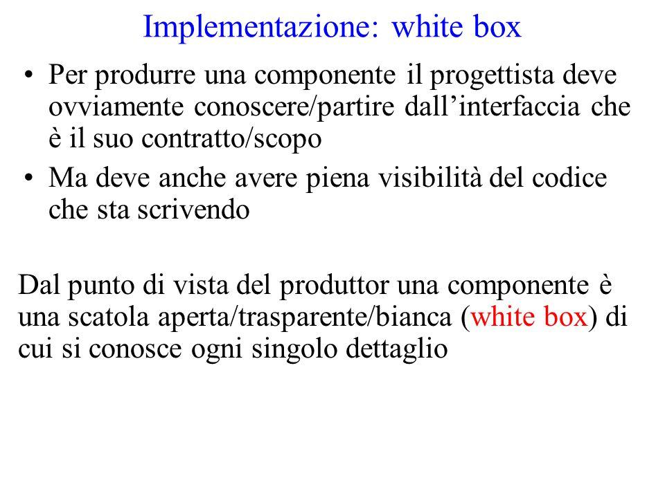 Implementazione: white box Per produrre una componente il progettista deve ovviamente conoscere/partire dall'interfaccia che è il suo contratto/scopo Ma deve anche avere piena visibilità del codice che sta scrivendo Dal punto di vista del produttor una componente è una scatola aperta/trasparente/bianca (white box) di cui si conosce ogni singolo dettaglio