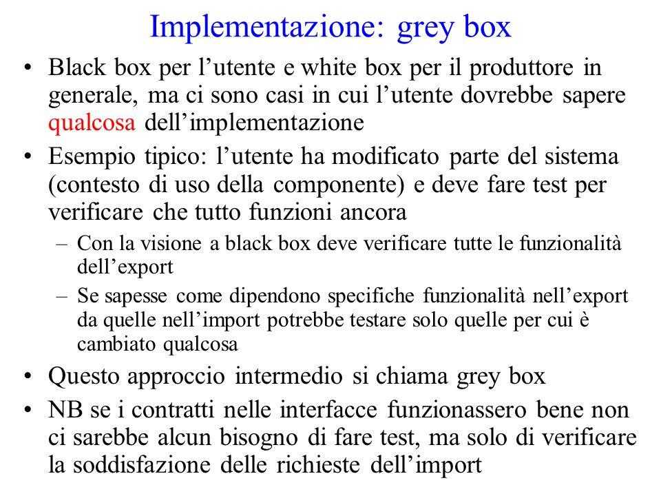 Implementazione: grey box Black box per l'utente e white box per il produttore in generale, ma ci sono casi in cui l'utente dovrebbe sapere qualcosa dell'implementazione Esempio tipico: l'utente ha modificato parte del sistema (contesto di uso della componente) e deve fare test per verificare che tutto funzioni ancora –Con la visione a black box deve verificare tutte le funzionalità dell'export –Se sapesse come dipendono specifiche funzionalità nell'export da quelle nell'import potrebbe testare solo quelle per cui è cambiato qualcosa Questo approccio intermedio si chiama grey box NB se i contratti nelle interfacce funzionassero bene non ci sarebbe alcun bisogno di fare test, ma solo di verificare la soddisfazione delle richieste dell'import