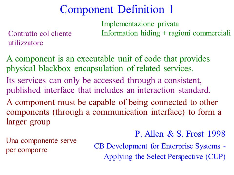 Component Definition 1 A component is an executable unit of code that provides physical blackbox encapsulation of related services. Its services can o