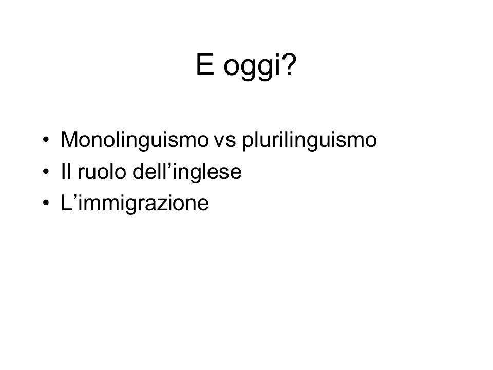E oggi? Monolinguismo vs plurilinguismo Il ruolo dell'inglese L'immigrazione