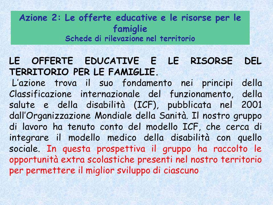 LE OFFERTE EDUCATIVE E LE RISORSE DEL TERRITORIO PER LE FAMIGLIE. L'azione trova il suo fondamento nei principi della Classificazione internazionale d